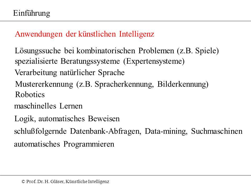 Einführung Anwendungen der künstlichen Intelligenz. Lösungssuche bei kombinatorischen Problemen (z.B. Spiele)