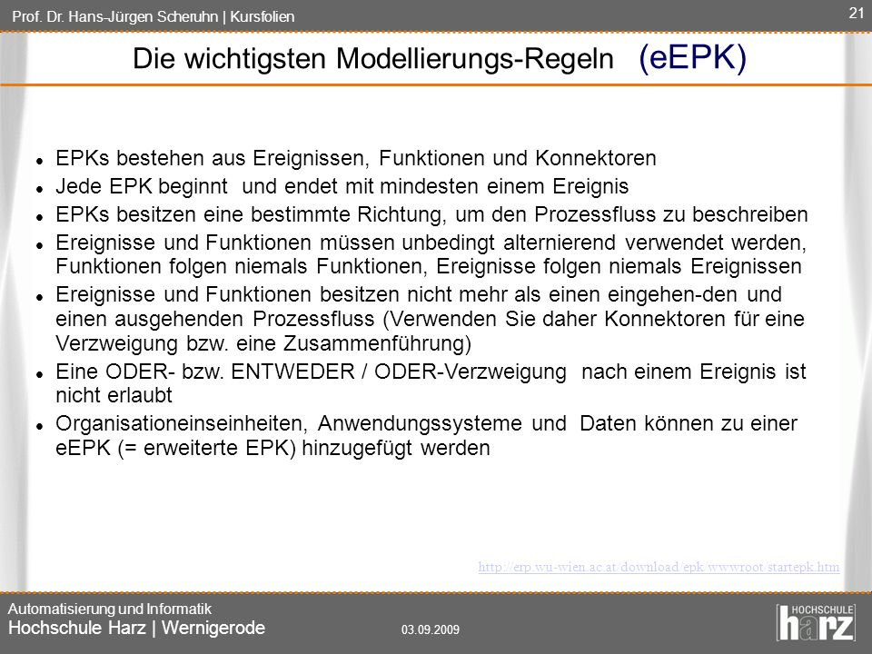 Die wichtigsten Modellierungs-Regeln (eEPK)