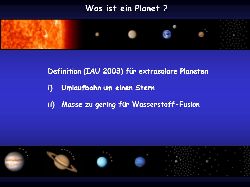 Was ist ein Planet Definition (IAU 2003) für extrasolare Planeten