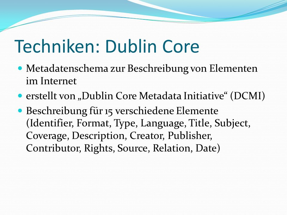 Techniken: Dublin Core