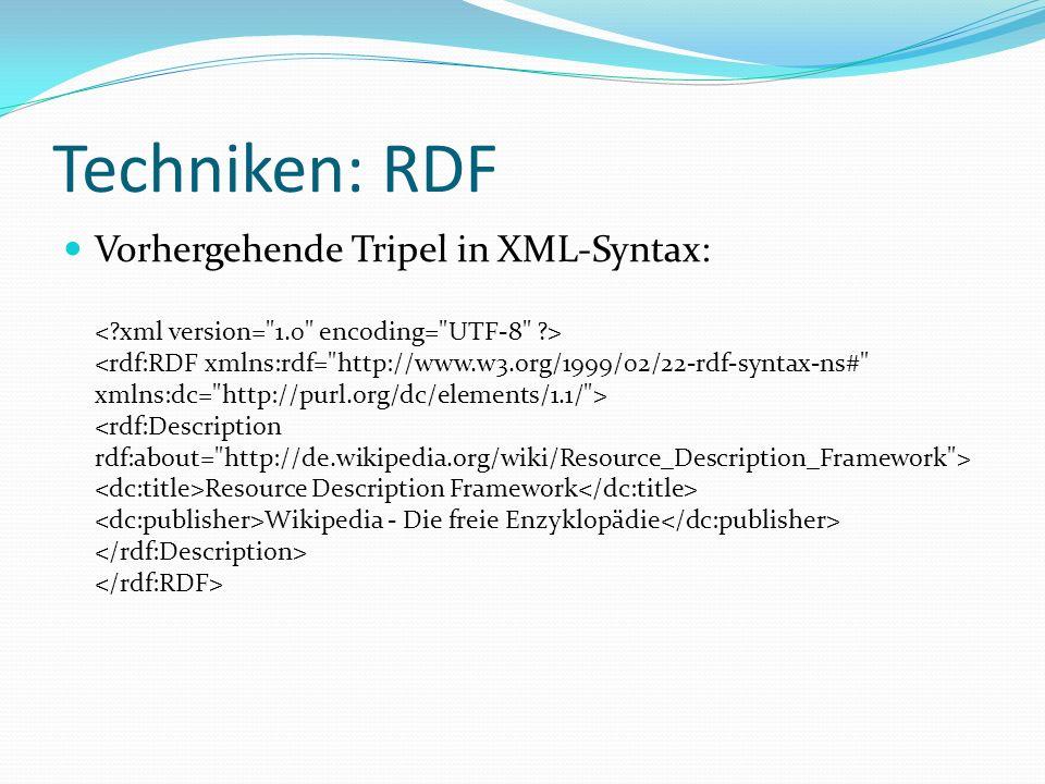 Techniken: RDF Vorhergehende Tripel in XML-Syntax: