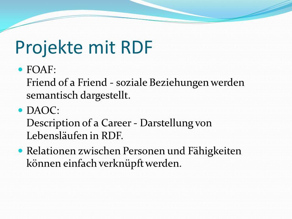 Projekte mit RDF FOAF: Friend of a Friend - soziale Beziehungen werden semantisch dargestellt.