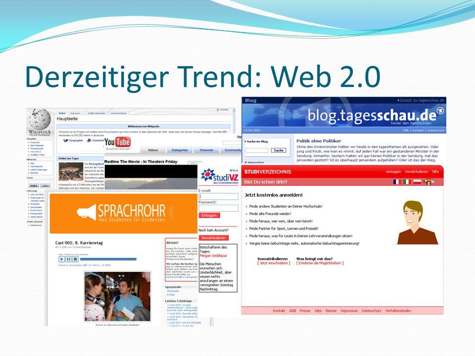 Derzeitiger Trend: Web 2.0