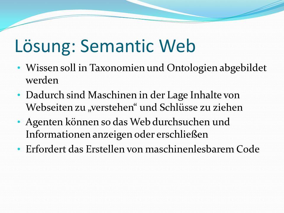 Lösung: Semantic Web Wissen soll in Taxonomien und Ontologien abgebildet werden.
