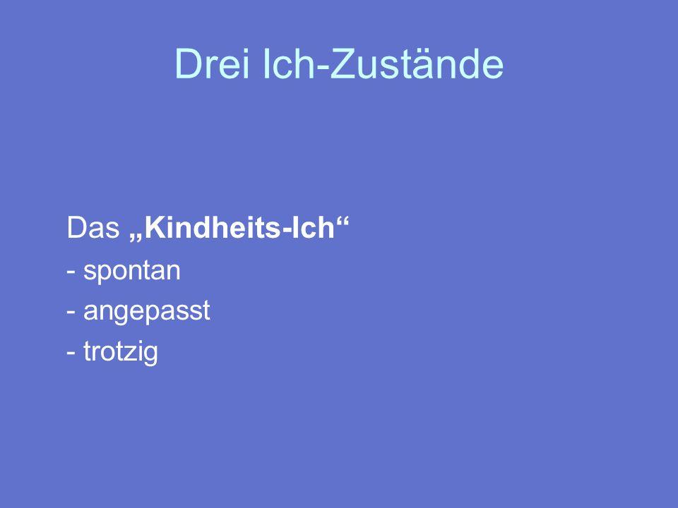 """Drei Ich-Zustände Das """"Kindheits-Ich - spontan - angepasst - trotzig"""