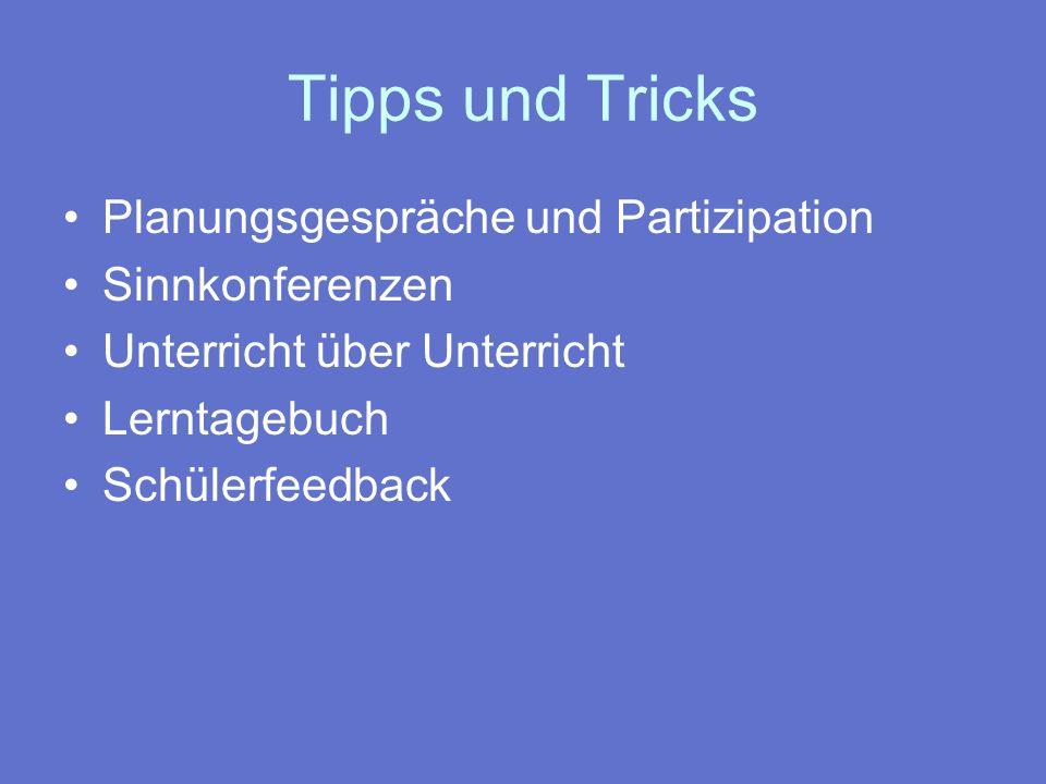 Tipps und Tricks Planungsgespräche und Partizipation Sinnkonferenzen
