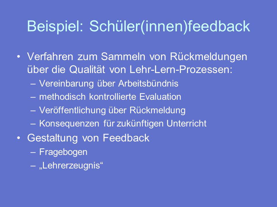 Beispiel: Schüler(innen)feedback