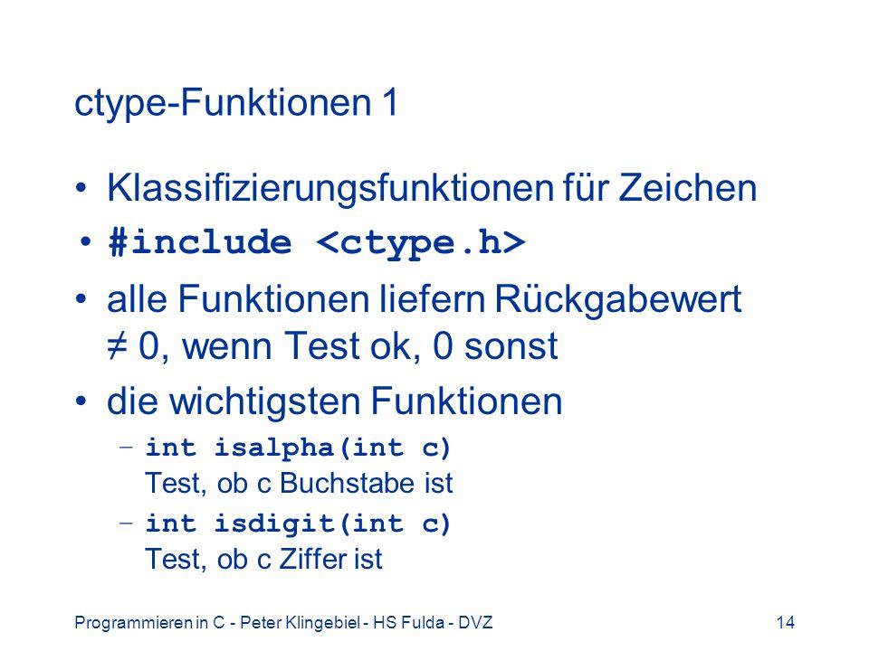 Klassifizierungsfunktionen für Zeichen #include <ctype.h>
