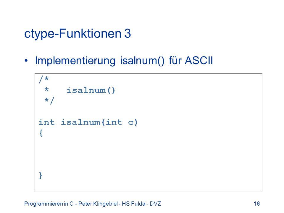 ctype-Funktionen 3 Implementierung isalnum() für ASCII