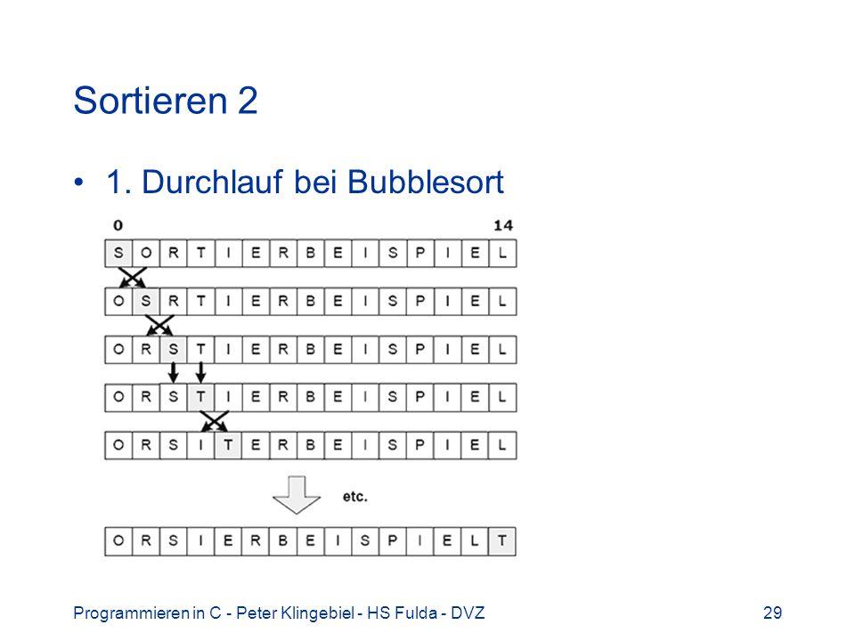 Sortieren 2 1. Durchlauf bei Bubblesort