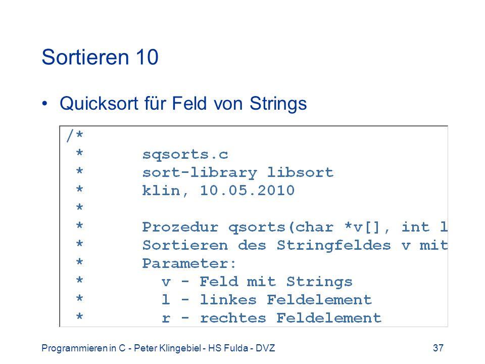 Sortieren 10 Quicksort für Feld von Strings