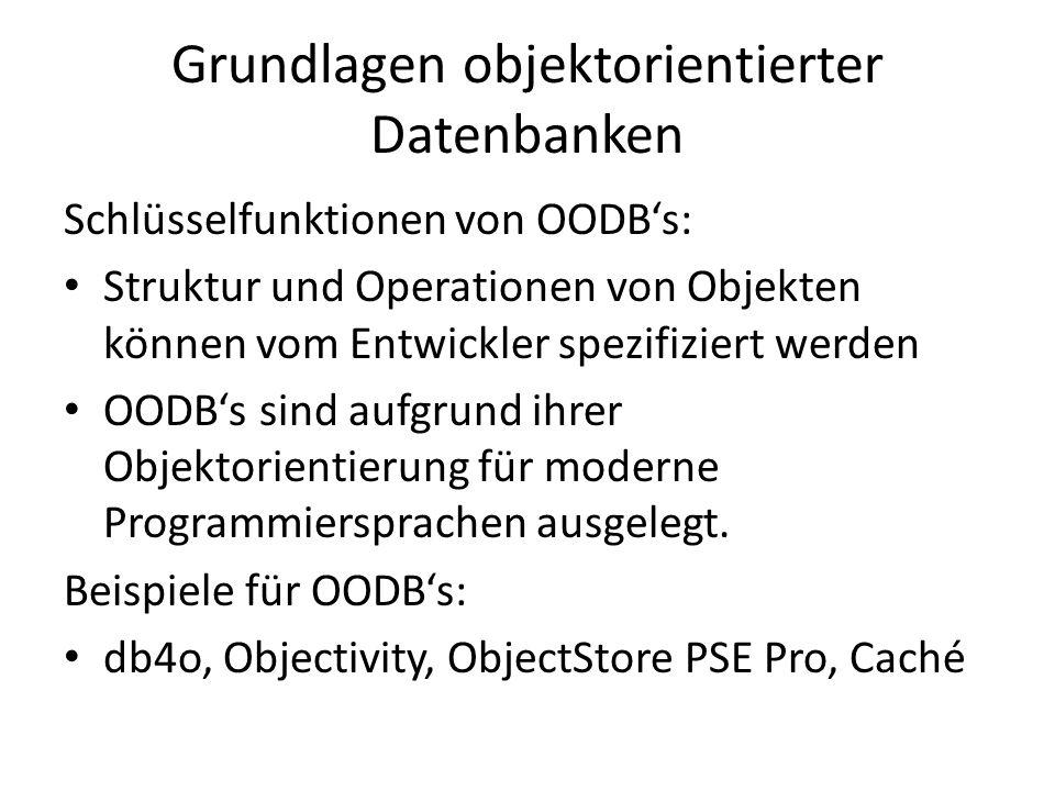 Grundlagen objektorientierter Datenbanken