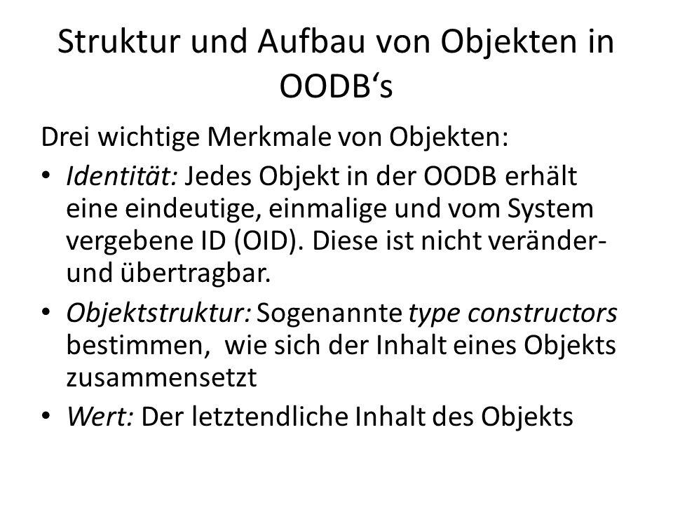 Struktur und Aufbau von Objekten in OODB's
