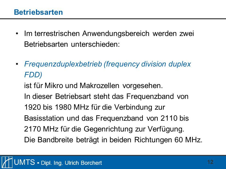 BetriebsartenIm terrestrischen Anwendungsbereich werden zwei Betriebsarten unterschieden: Frequenzduplexbetrieb (frequency division duplex FDD)