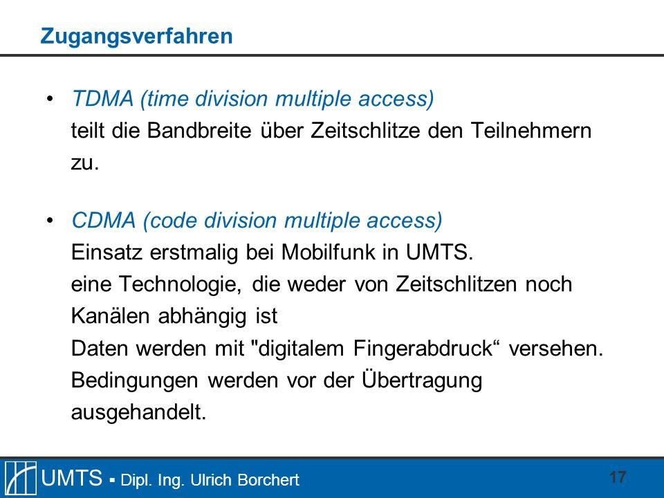ZugangsverfahrenTDMA (time division multiple access) teilt die Bandbreite über Zeitschlitze den Teilnehmern zu.