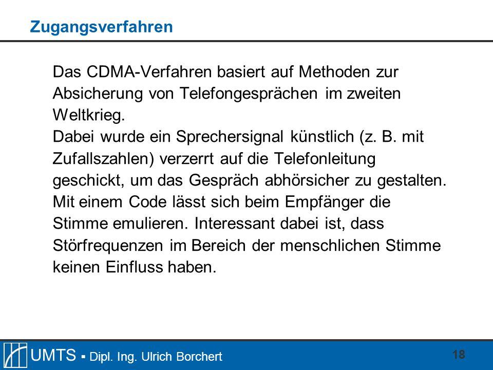 Zugangsverfahren Das CDMA-Verfahren basiert auf Methoden zur Absicherung von Telefongesprächen im zweiten Weltkrieg.