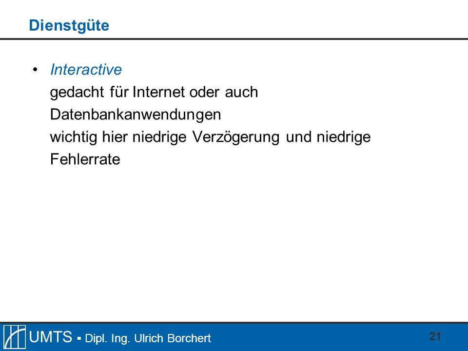 Dienstgüte Interactive. gedacht für Internet oder auch Datenbankanwendungen.