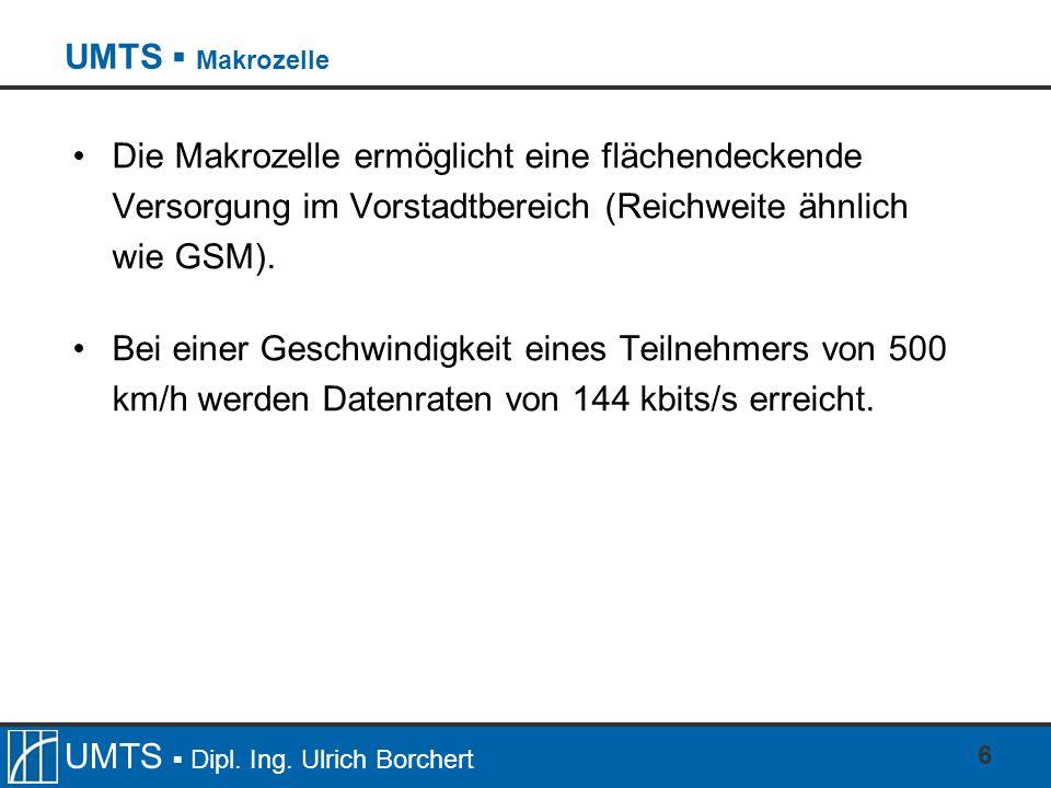 UMTS ▪ MakrozelleDie Makrozelle ermöglicht eine flächendeckende Versorgung im Vorstadtbereich (Reichweite ähnlich wie GSM).