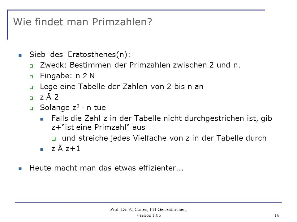 Wie findet man Primzahlen