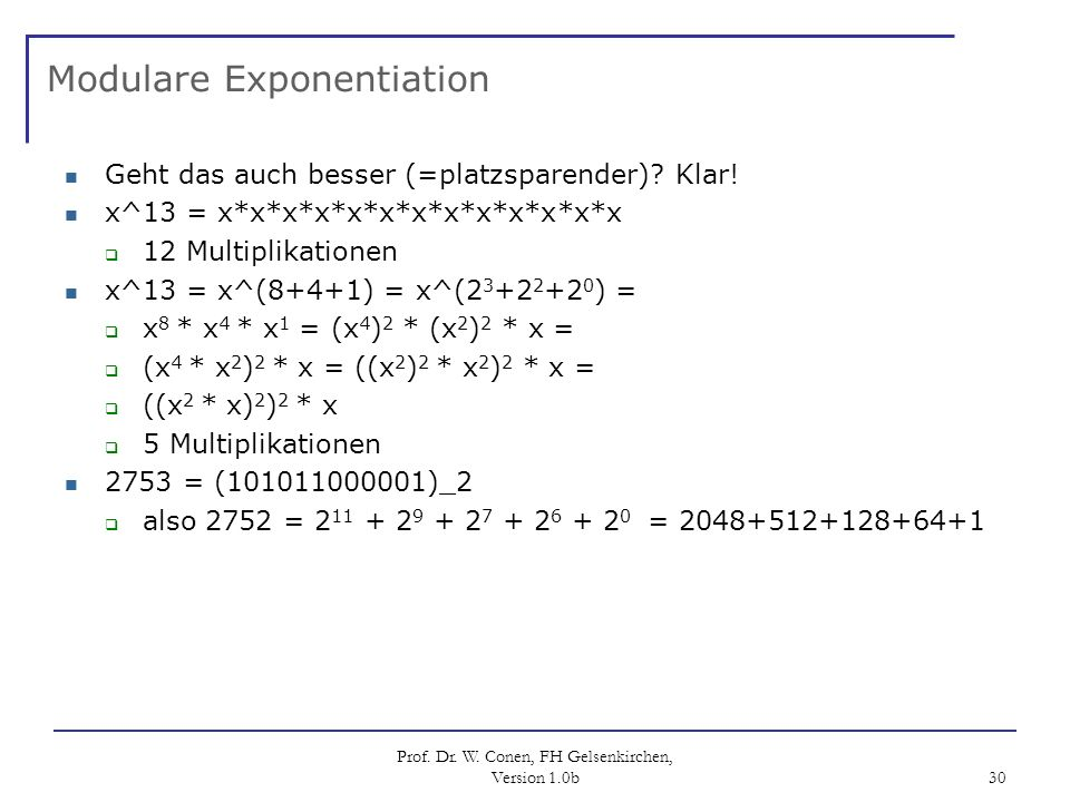 Modulare Exponentiation