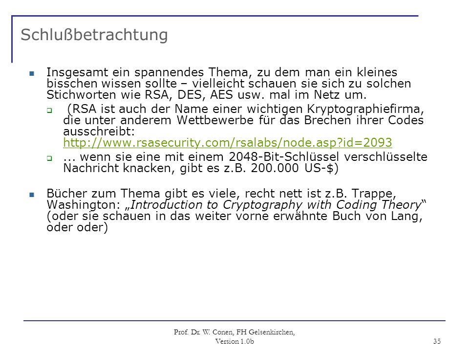 Prof. Dr. W. Conen, FH Gelsenkirchen, Version 1.0b