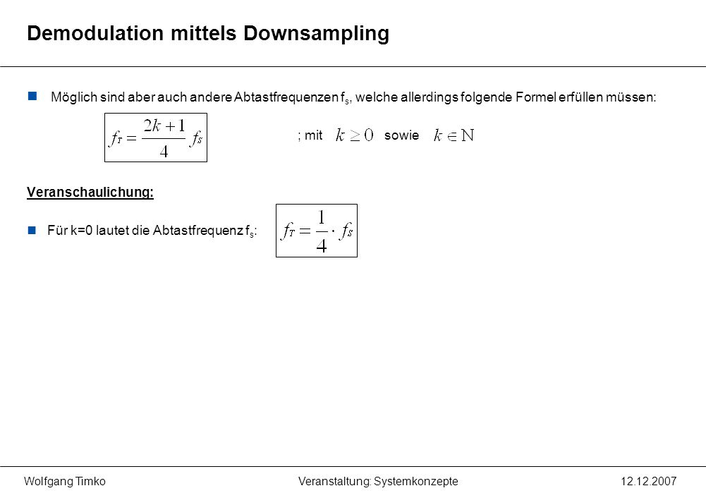 Demodulation mittels Downsampling