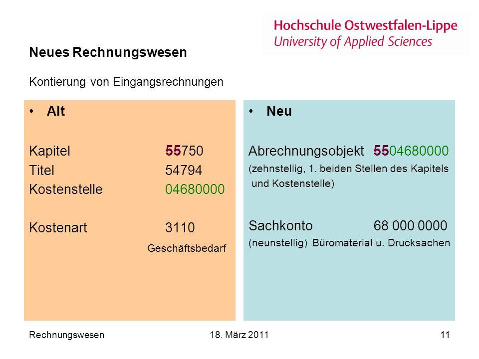 Neues Rechnungswesen Kontierung von Eingangsrechnungen