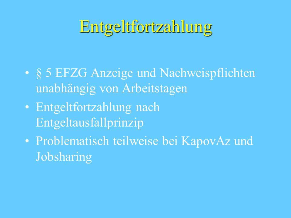 Entgeltfortzahlung § 5 EFZG Anzeige und Nachweispflichten unabhängig von Arbeitstagen. Entgeltfortzahlung nach Entgeltausfallprinzip.