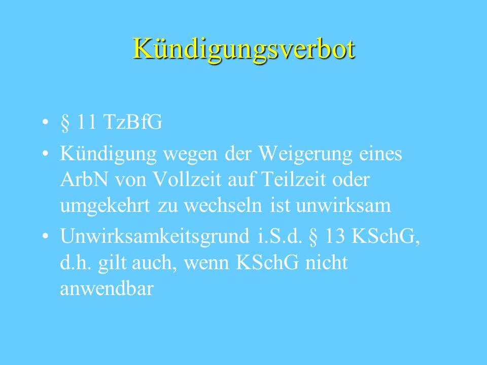 Kündigungsverbot § 11 TzBfG