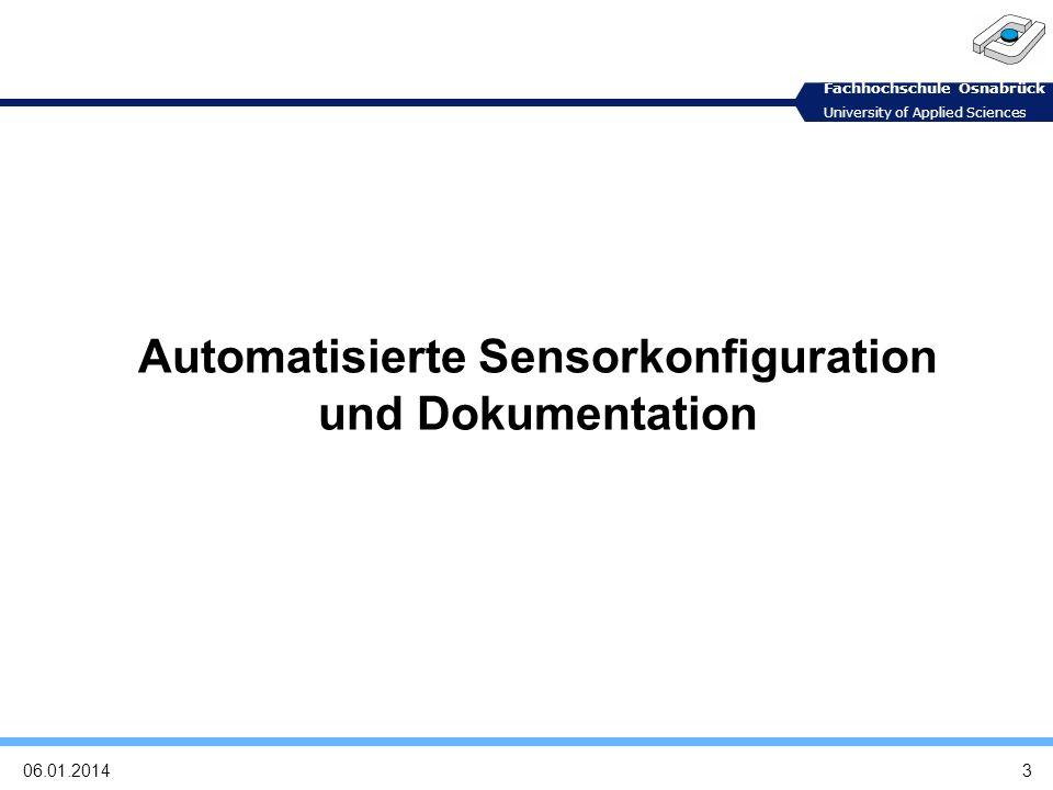Automatisierte Sensorkonfiguration und Dokumentation