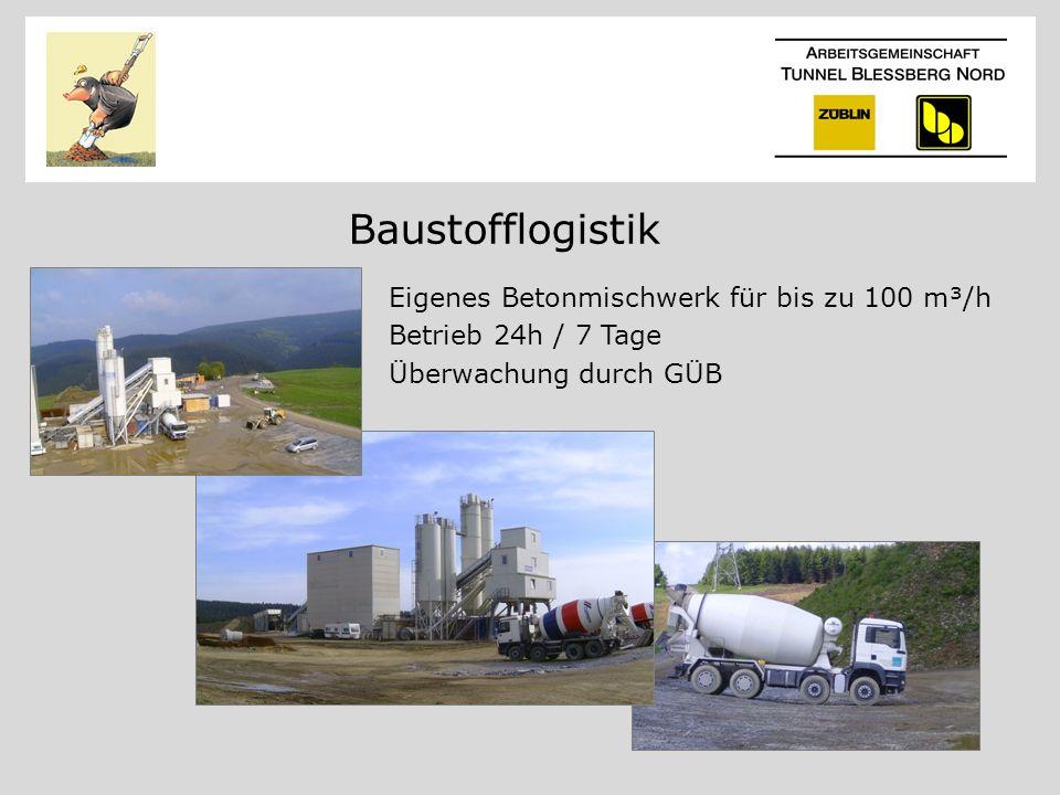 Baustofflogistik Eigenes Betonmischwerk für bis zu 100 m³/h