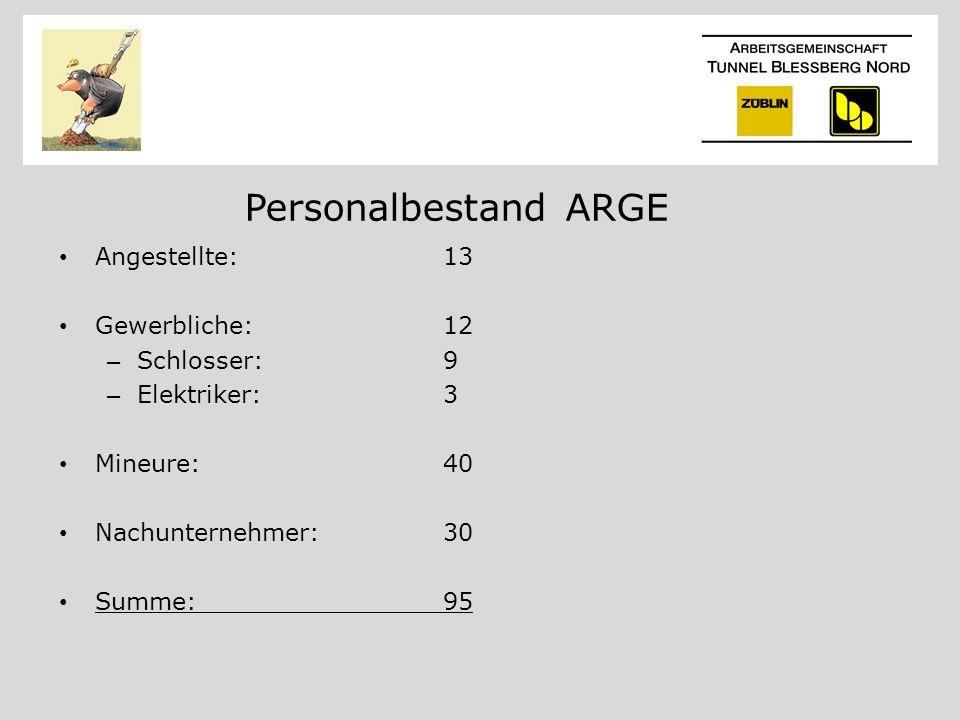 Personalbestand ARGE Angestellte: 13 Gewerbliche: 12 Schlosser: 9