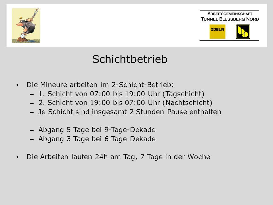 Schichtbetrieb Die Mineure arbeiten im 2-Schicht-Betrieb: