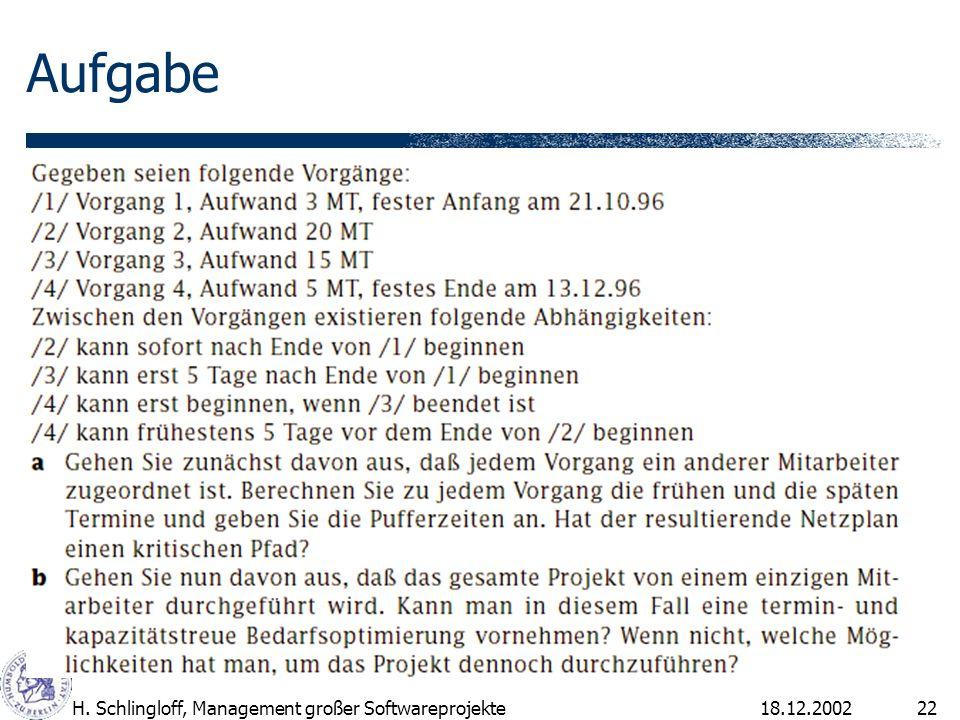 Aufgabe H. Schlingloff, Management großer Softwareprojekte 18.12.2002