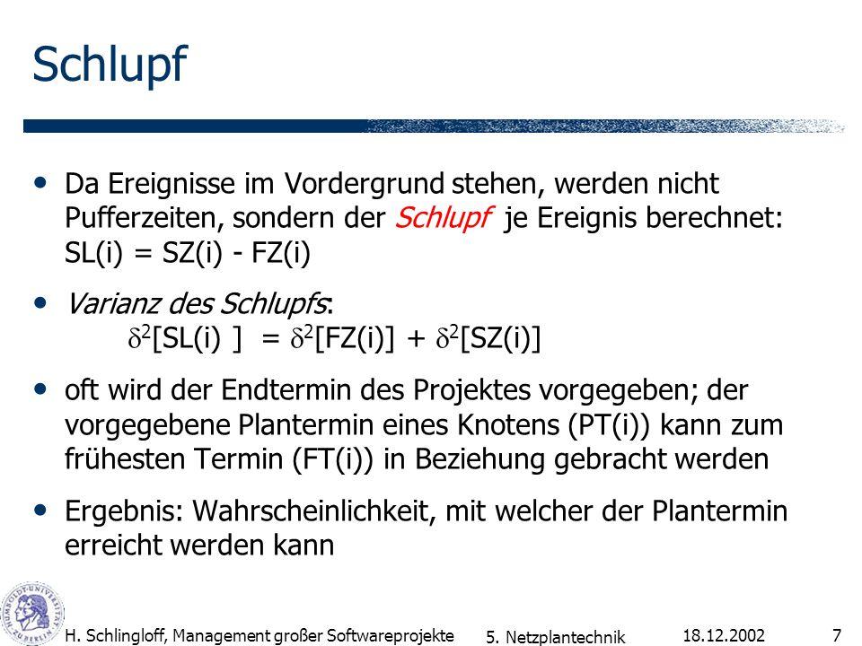 SchlupfDa Ereignisse im Vordergrund stehen, werden nicht Pufferzeiten, sondern der Schlupf je Ereignis berechnet: SL(i) = SZ(i) - FZ(i)