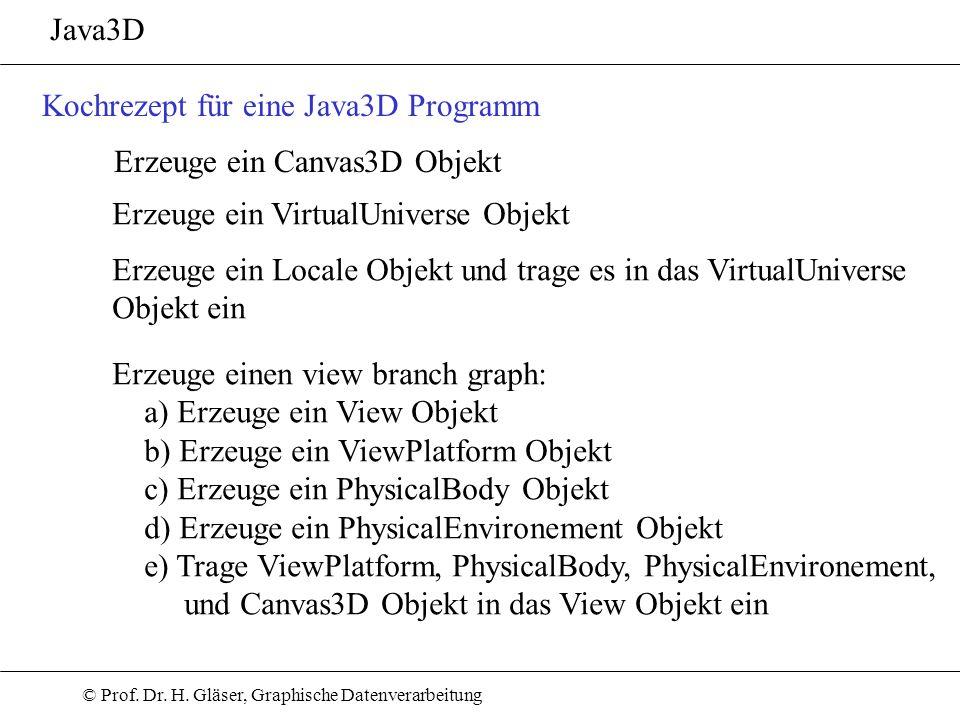Java3DKochrezept für eine Java3D Programm. Erzeuge ein Canvas3D Objekt. Erzeuge ein VirtualUniverse Objekt.