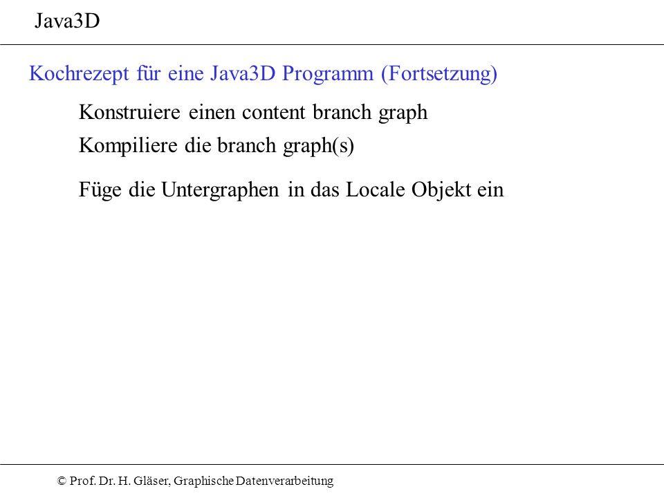 Java3DKochrezept für eine Java3D Programm (Fortsetzung) Konstruiere einen content branch graph. Kompiliere die branch graph(s)