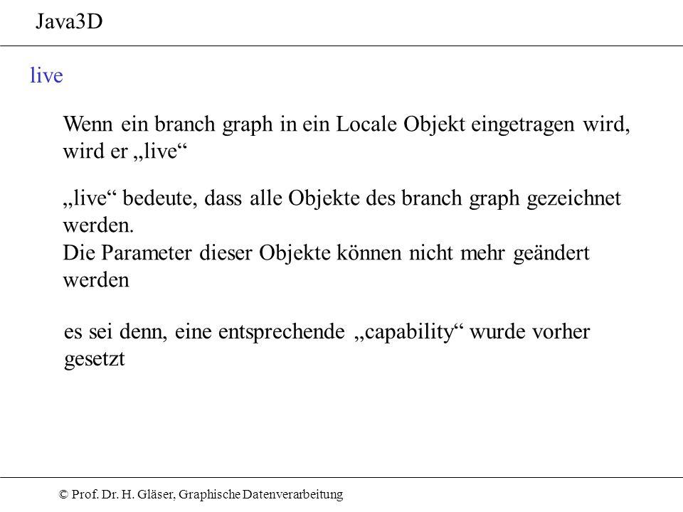 """Java3D live. Wenn ein branch graph in ein Locale Objekt eingetragen wird, wird er """"live"""