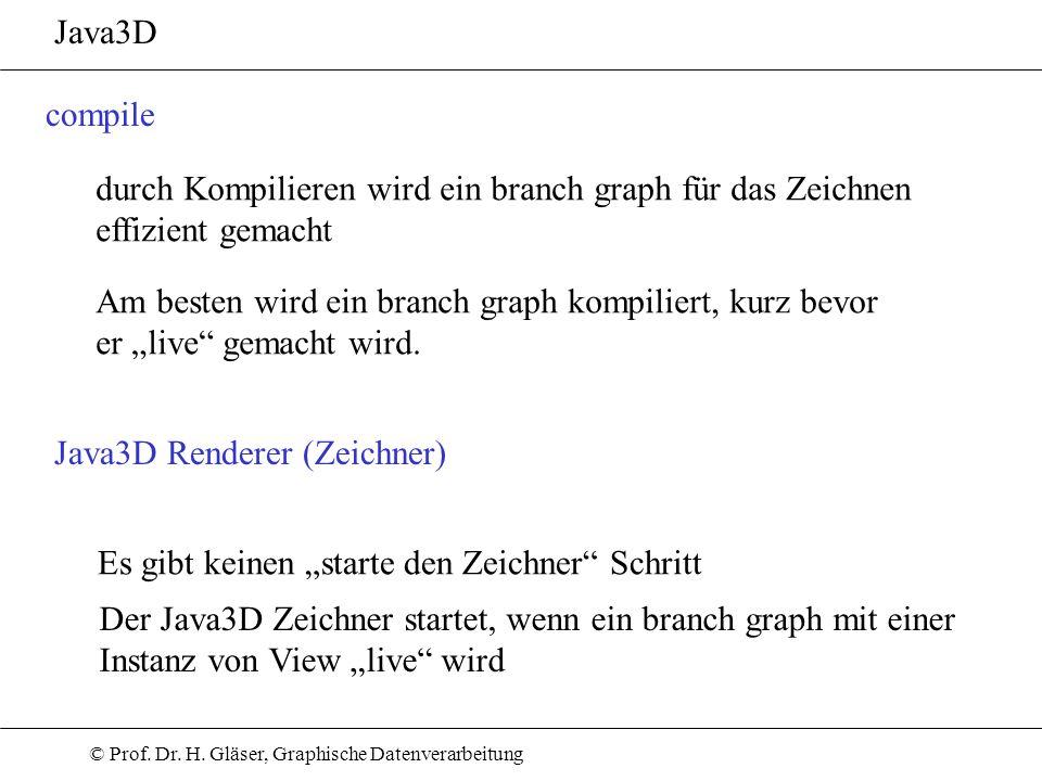 Java3Dcompile. durch Kompilieren wird ein branch graph für das Zeichnen. effizient gemacht. Am besten wird ein branch graph kompiliert, kurz bevor.