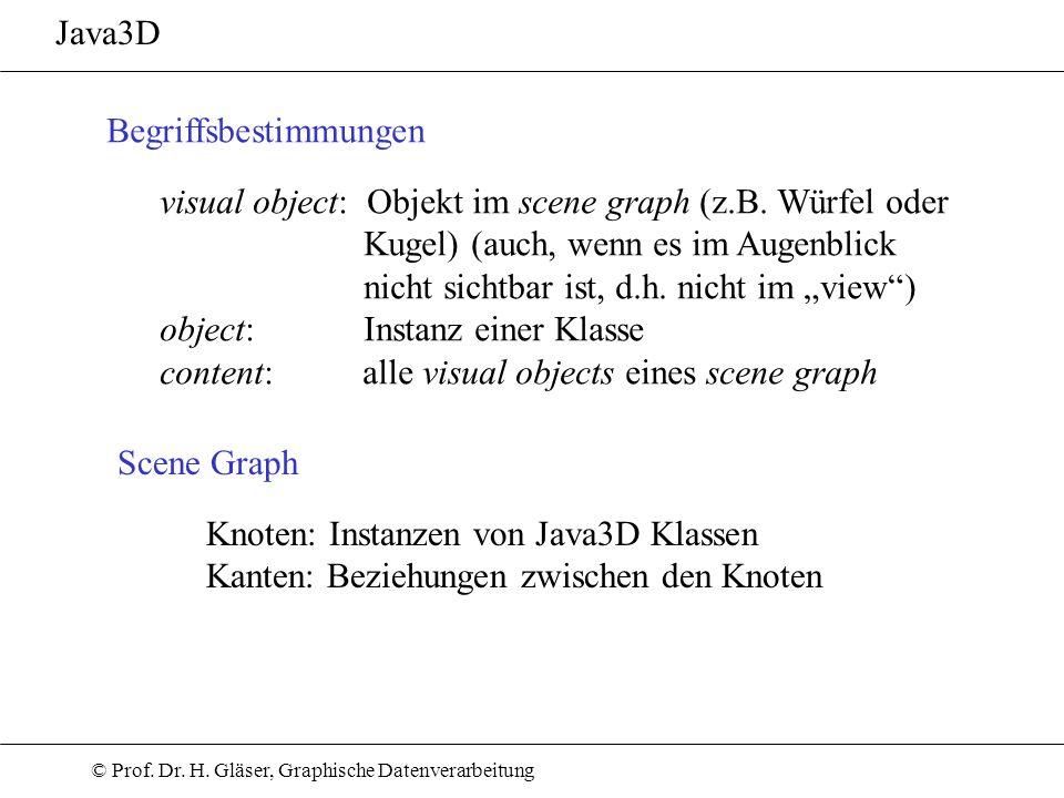Java3D Begriffsbestimmungen. visual object: Objekt im scene graph (z.B. Würfel oder. Kugel) (auch, wenn es im Augenblick.