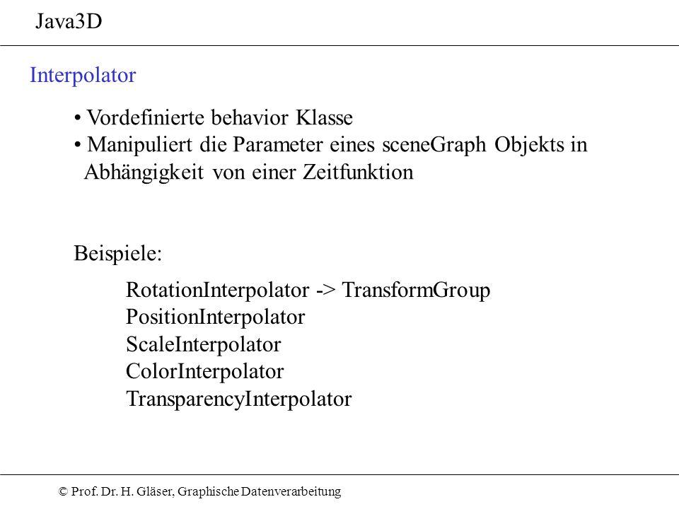 Java3D Interpolator. Vordefinierte behavior Klasse. Manipuliert die Parameter eines sceneGraph Objekts in Abhängigkeit von einer Zeitfunktion.