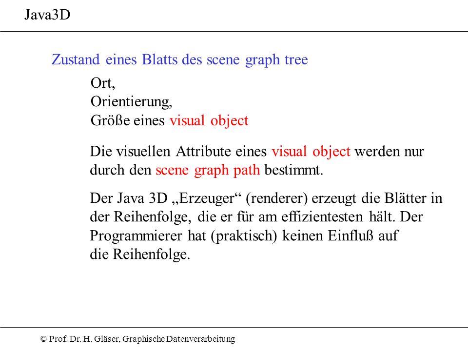 Java3D Zustand eines Blatts des scene graph tree. Ort, Orientierung, Größe eines visual object.