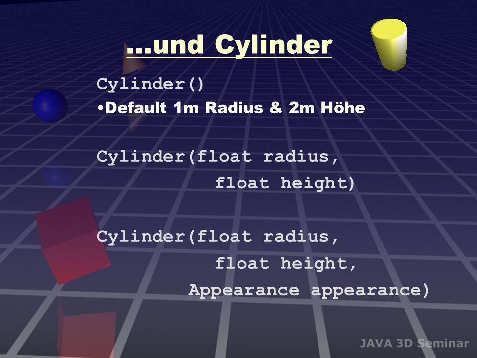 …und Cylinder Cylinder() Cylinder(float radius, float height)