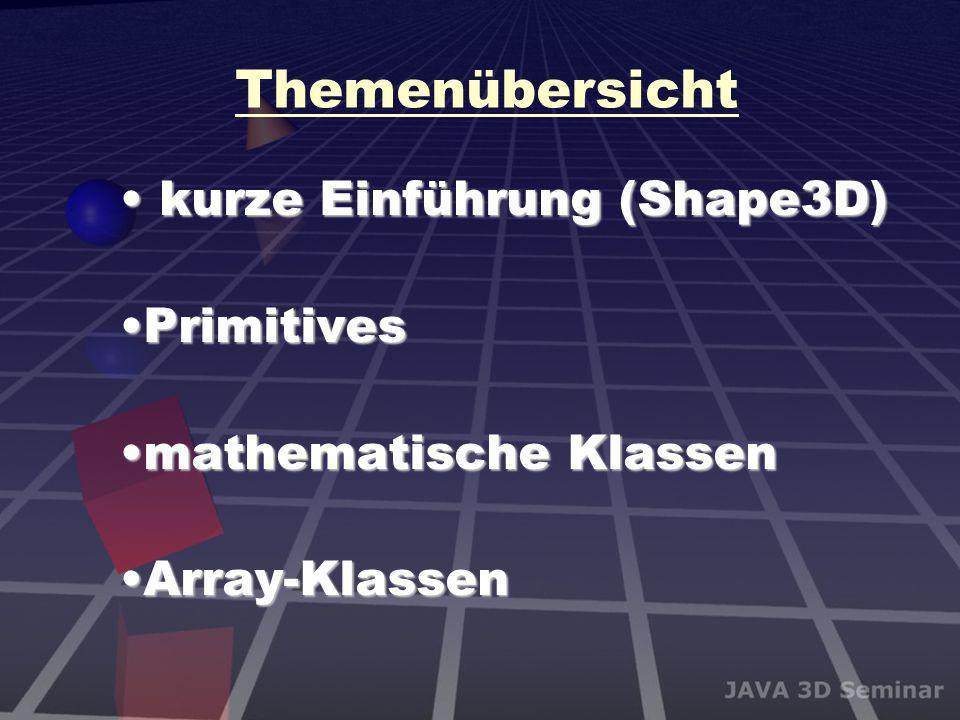 Themenübersicht kurze Einführung (Shape3D) Primitives