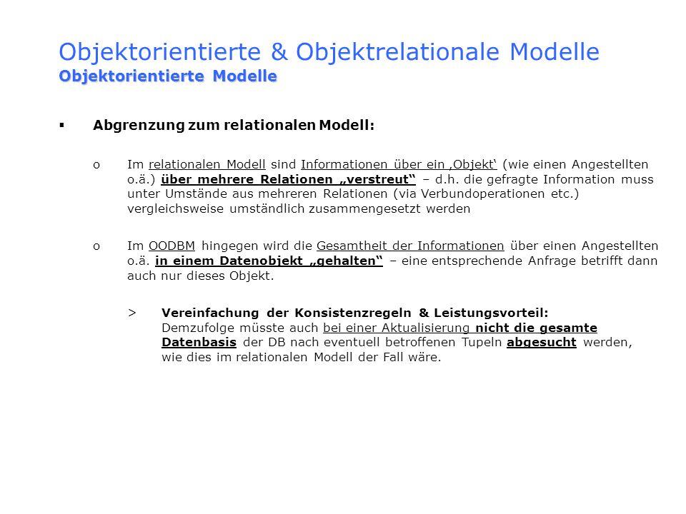 Objektorientierte & Objektrelationale Modelle