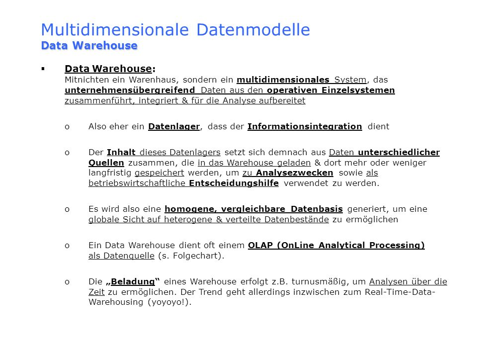 Multidimensionale Datenmodelle Data Warehouse