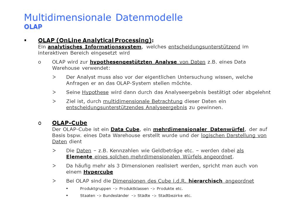 Multidimensionale Datenmodelle OLAP