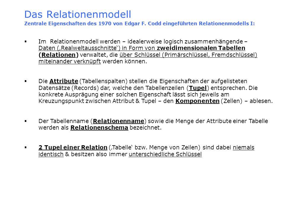 Das Relationenmodell Zentrale Eigenschaften des 1970 von Edgar F. Codd eingeführten Relationenmodells I: