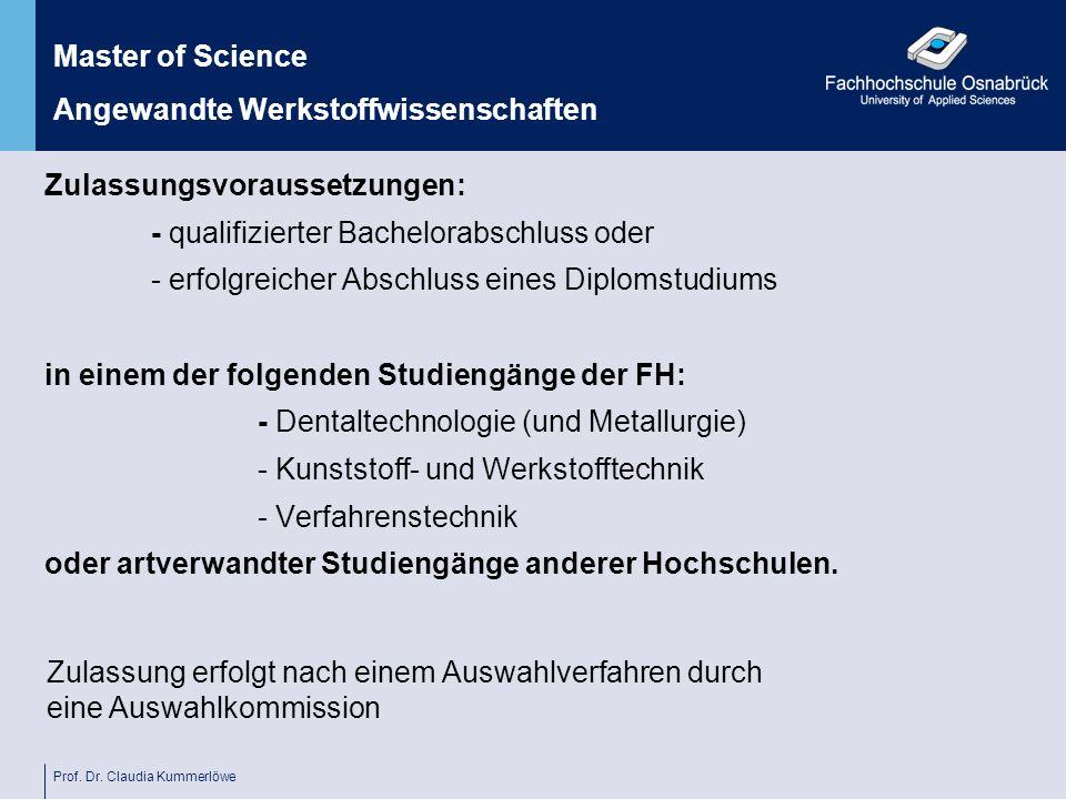 Master of Science Angewandte Werkstoffwissenschaften