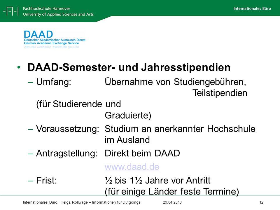 DAAD-Semester- und Jahresstipendien